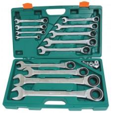 Набор ключей комбинированных трещоточных 72 зуба 17 предметов