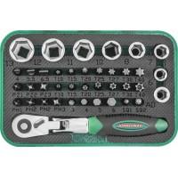 """Набор торцевых головок 1/4""""DR, вставок-бит с трещоточной рукояткой мини 1/4""""DR, 60 зубцов, 40 предметов"""